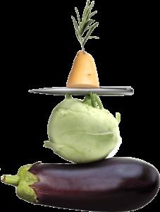 Komposition Kugelschreiber, Kohlrabi, Aubergine und Kartoffel